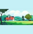 forest house countryside cartoon landscape with vector image