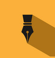 fountain pen icon with shadow on yellow background vector image