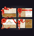 gift cards and certificates with red ribbons set vector image