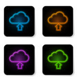 glowing neon cloud download icon isolated on vector image vector image
