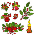 hand drawn christmas elements vector image vector image