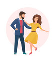 happy romantic handsome man and pretty woman time vector image