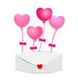 heart balloons with envelopes on white background vector image vector image
