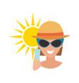 Human avatar woman degree of sunburn beach