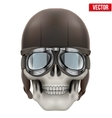 Human skull with retro aviator or biker helmet vector image