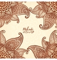 Indian mehndi henna tattoo style card vector image vector image