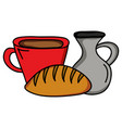 jar canteen with cup beverage and bread vector image