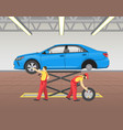 lifted car repairing process vector image vector image