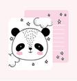 little panda face stars cute animals sketch vector image