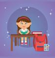 little schoolgirl in the classroom vector image