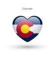 Love Colorado state symbol Heart flag icon vector image vector image