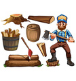 Lumberjack and firewood vector image vector image
