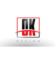 ok o k logo letters with red and black colors and vector image vector image