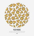 pizza concept in circle with thin line icons vector image vector image