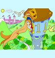 princess rapunzel in the stone tower for children vector image vector image