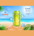 refreshing soft drink ads aluminium can with lemon vector image vector image