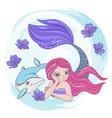 resting mermaid dolphin sea cartoon vector image vector image