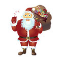 santa claus holding a candy cane isolated on white vector image