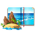 scene with ocean and island vector image vector image
