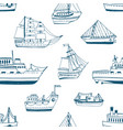 seamless pattern with doodle ships yachts boats vector image vector image
