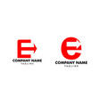 set initial letter e with arrow logo template vector image vector image