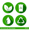 set of ecology icons with long shadow green color vector image vector image