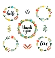 Set of Floral wreath with cute colorful flowers