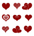 set of icons of red hearts vector image vector image