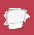 torn hole in sheet red paper vector image vector image