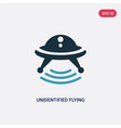 two color unidentified flying object icon from vector image