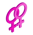 Two female gender symbols isometric 3d icon vector image vector image