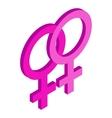 Two female gender symbols isometric 3d icon vector image