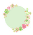 watercolor cactus and succulent round wreath vector image vector image