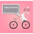 white rabbit on bicycle vector image vector image