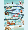 winter village with people cars and buildings vector image