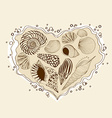 with heart of seashells vector image