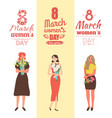 womens day with girls holding spring bouquets vector image vector image