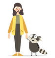 young girl with cute animal vector image vector image