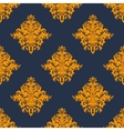 Gold and blue damask style seamless pattern vector image