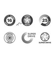 wheel car icon set template logo vector image