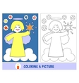 Baby job in painting the picture of an angel with vector image