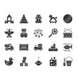 baby toy black silhouette icons set vector image