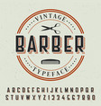 barber vintage typeface poster vector image vector image