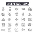 blockchain line icons for web and mobile design vector image vector image
