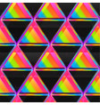 bright triangle seamless pattern with neon light vector image vector image
