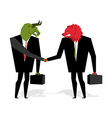 bull and bear Deal Animals businessmen make trade vector image
