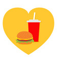 burger soda drink glass with straw icon set heart vector image vector image