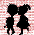 Card with cartoon silhouettes of a boy and a girl vector image