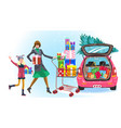 cheerful mother and daughter going to car vector image