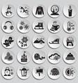 christmas icons set on plates vector image